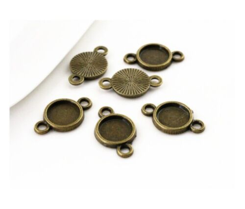 50pcs 8mm Charm Round Connector Base Setting Cabochon Pendant Blank Trays DIY