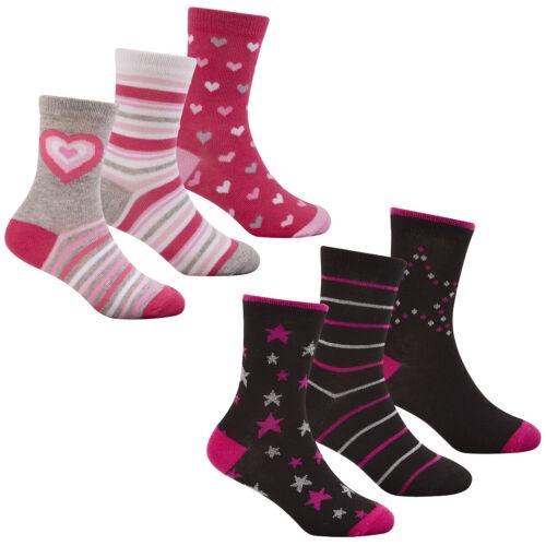 Childrens Girls Design Socks Cotton Rich Animal Print Multibuy Variety Pack Cute