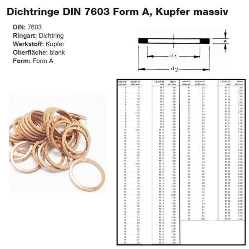 Dichtung Dichtringe DIN 7603 Form A Kupfer massiv blank 2