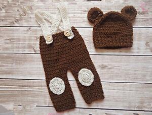 Newborn Boys Crochet Knit Bear dress Costume Photo Photography Prop Outfits Hot