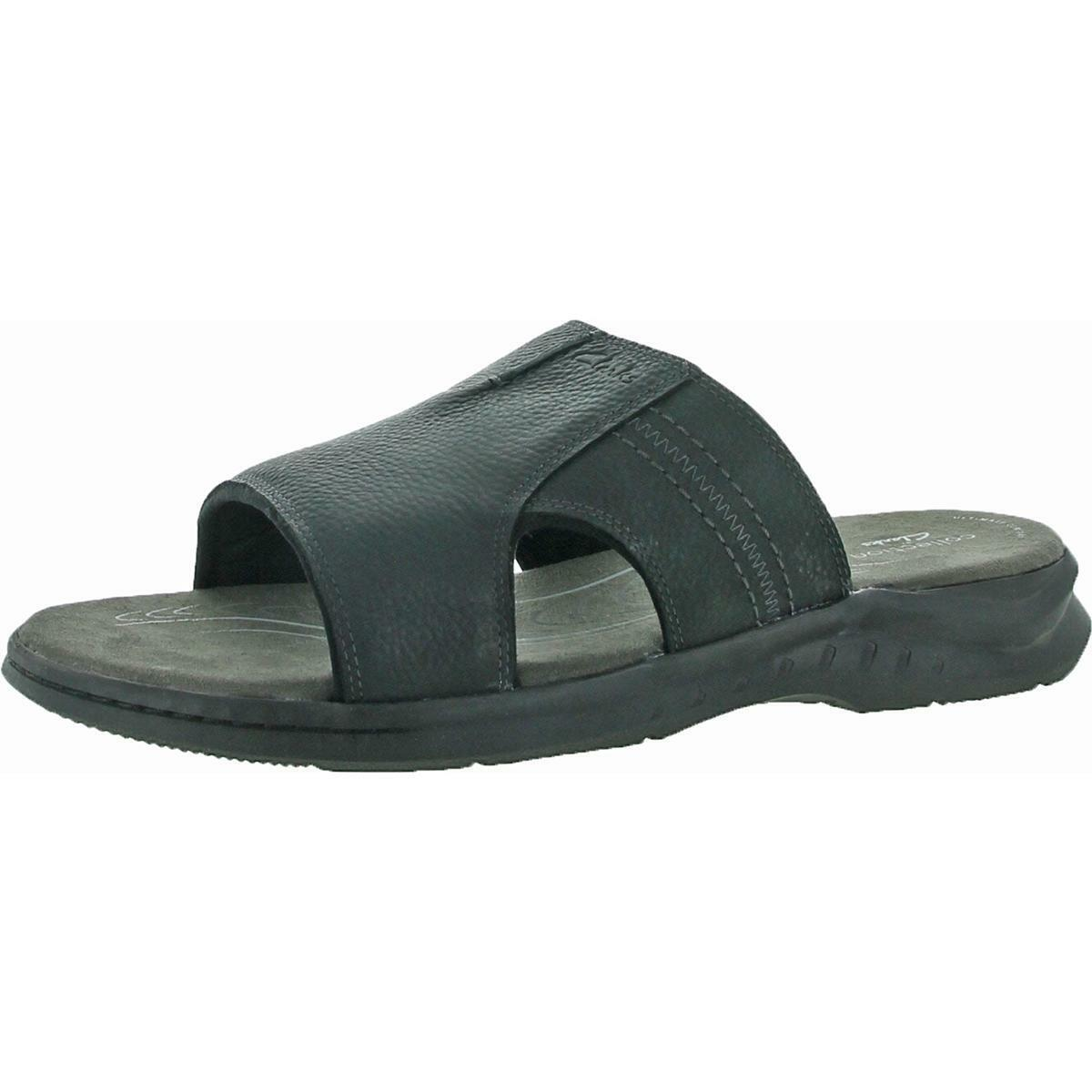 Clarks Hapsford Slide Men's Tumbled Leather Casual Slip On Sandals