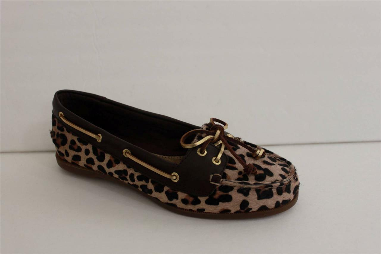 Sperry Top Sider Women's Shoe Size 7 M Leopard Pony Canvas Loafer Moccasins Shoe