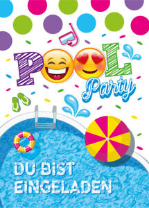Einladungskarten Einladungen Kinder Geburtstag SCHWIMMBAD PARTY ...