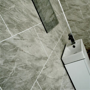Grey Marble Bathroom Tile Effect Wall