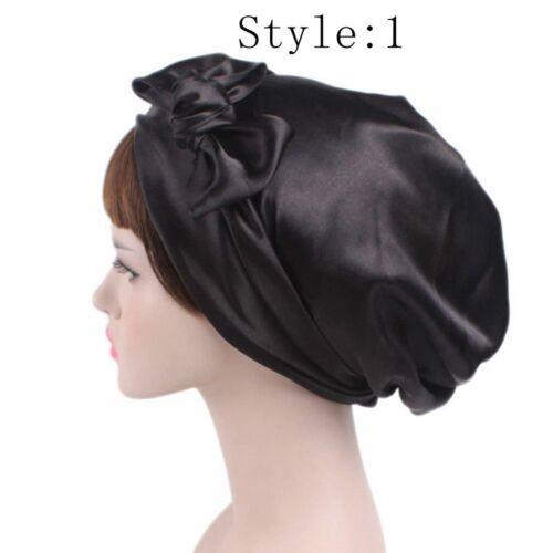 Women Satin Bow Headscarf Turban Hijab Soft Sleep Bonnet Hair Wrap Cap Fashion