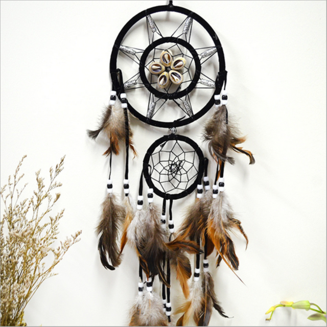 Brown Heart Dream Catcher with feather Wall Hanging Ornament Decoration Fast US