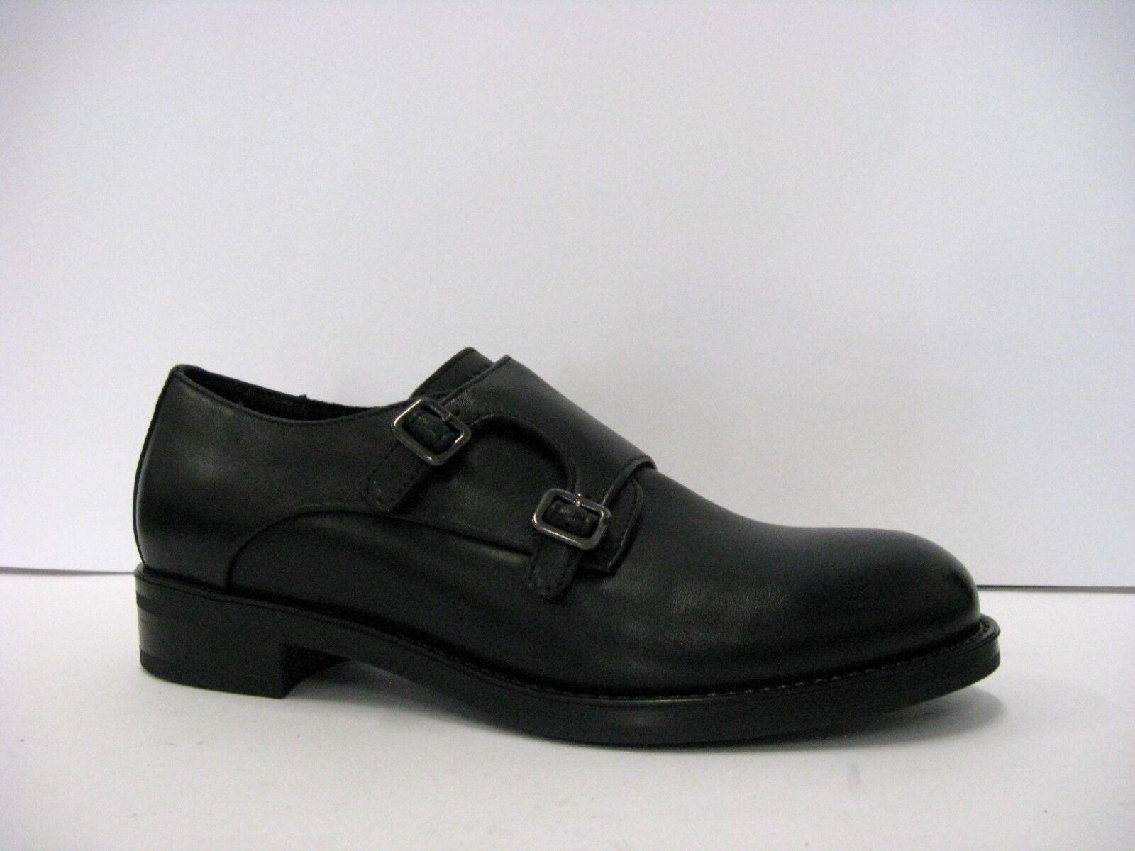FRAU pelle 98M2 scarpa donna fibbie pelle FRAU nera suola gomma prodotto italiano 0a7c30