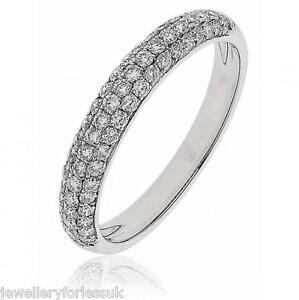 18Carat-White-Gold-Diamond-Pave-set-Half-Eternity-Wedding-Band-0-58-carats-3-5MM