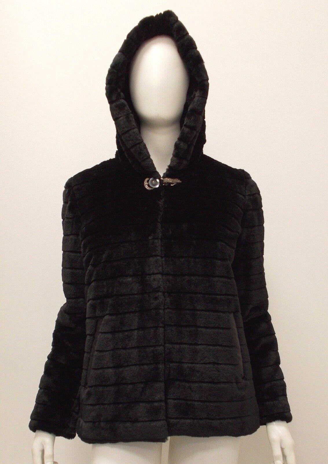 LIZALU' CURVY GIRL ECO PELLICCIA TAGLIE COMODE F458YAGMONACO color black FW2016