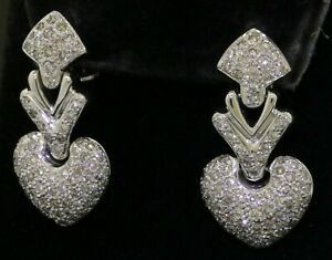 18K-white-gold-lovely-elegant-3-65CTW-VS-diamond-cluster-heart-dangle-earrings