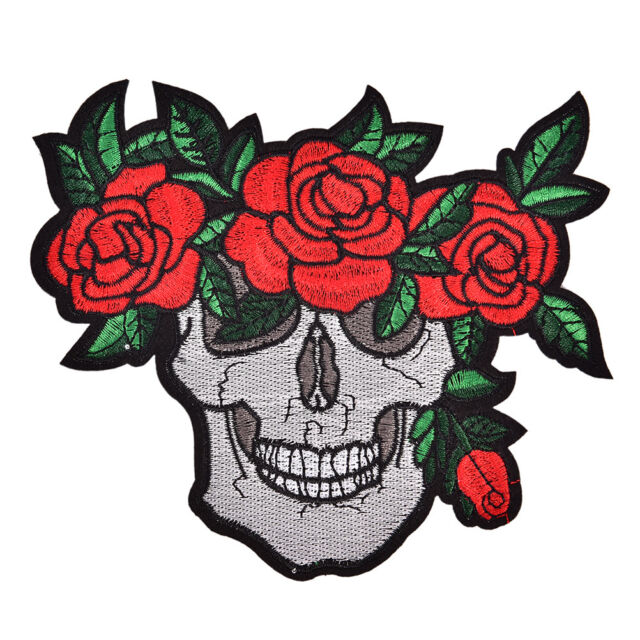 Punk Skull Clothing Patches Rose Red Badges Embroidery Iron-On Biker Appliqu mZ