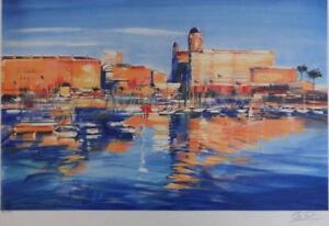 ELLA-FORT-Port-de-St-Raphael-LITOGRAFIA-originale-firmato-250ex