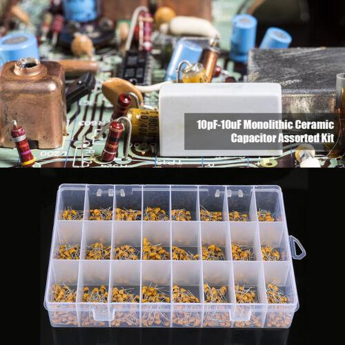 1200pcs 24 Values 50V 10pF-10uF Monolithic Ceramic Capacitor Assorted Kit Set US