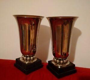 Superbe-paire-de-grands-vases-Art-Deco-metal-et-marbre-tres-bel-etat-decorateur