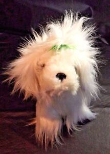 Details About Plush Furry White Dog 9 Inches Long Made For Battat