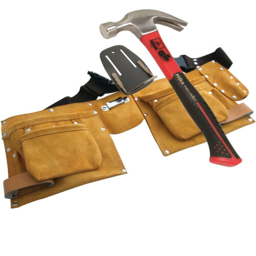 Leather Double Pouch with 16oz Claw Hammer and Extra Real Leather hammer holder