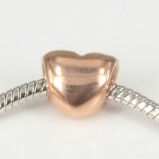 Rose Gold Heart Stainless Steel Charms Spacer Bead Fit Women's DIY Euro Bracelet