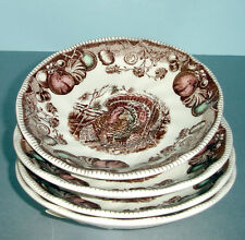 Johnson Brothers HIS MAJESTY Tea Saucer SET OF 4 Turkey-Fruits Brown Boxed New