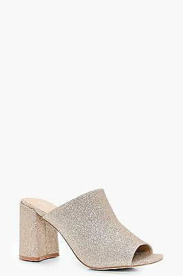 NEW Boohoo Womens Lauren Shimmer Flared Heel Mule in