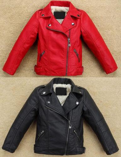 Cool Kids Boys girl warm Thick fleece lined Leather jacket Biker Coat Outerwear