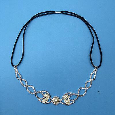 Clear Crystal Rhinestone&Pearls Wedding Headband Elastic Stretch Hair Band F-6
