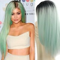 Synthetic Wigs Long Straight Ombre Wig Heat Resistant Fiber Mint Green Black For