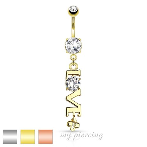"""Steel /'Love/' Word with Clear CZ Dangle Navel Ring 14G~3//8/"""" Rose Gold IP 316L S"""