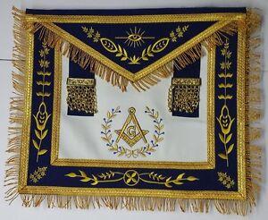 Masonic-Apron-Master-Mason-Apron-Navy-Blue-Gold-G-Embroidery-with-Fringe