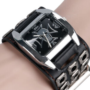 Steampunk-Punk-Style-Skull-Design-Men-039-s-Cool-Quartz-Wrist-Watch-Leather-Strap