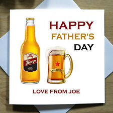 Personalised Handmade Happy Fathers Day Beer Card - Daddy, Dad, Beer/Cider