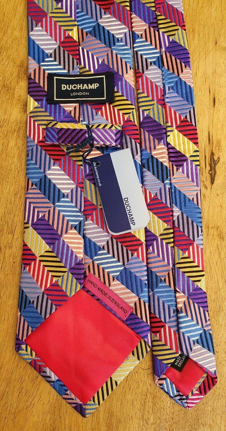 ! nuevo! Duchamp London Blue Label Artesanal Tejido De Seda tie audaz y brillante