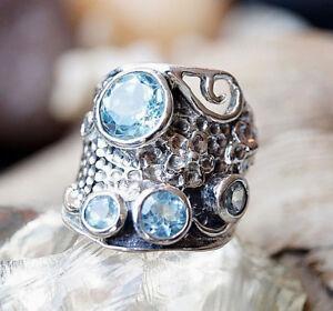 Silberring-53-Blautopas-A-Hellblau-Silber-Ring-Modern-Breit-Massiv-Verspielt