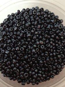 50g-abalorios-semilla-de-cristal-Negras-Opacas-Lustered-aprox-2mm-tamano-11-0