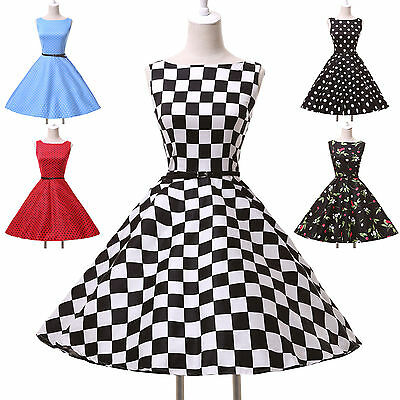Vintage 50s 60s Housewife Sleeveless Swing Jive Belted Mini Dress IN XS S M L XL