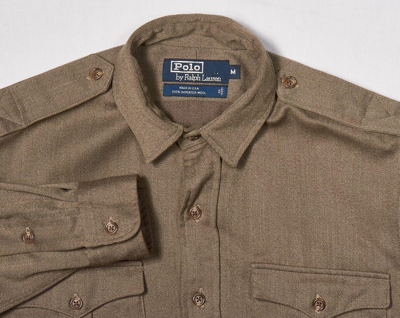 Mens POLO RALPH LAUREN Shirt M in Peanut Brown Wool Twill CPO Style USA