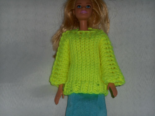 Sweater for Barbie Bright Yellow  clothes fits Sparkle Girlz and other dolls