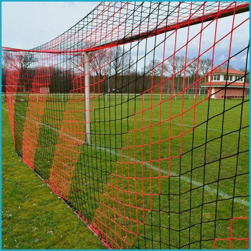 Fußballtornetz Tornetz Fußballnetz 5 x 2 m, 1,00 / 1,00 m, 4 mm, Schwarz Rot
