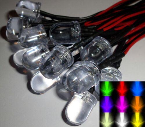 10 mm pré-câblé Constant 12 V DEL avec plastique noir détenteurs