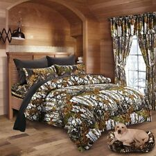 WHITE CAMO COMFORTER 7 PC BLACK SHEET SET!! KING SIZE CAMOUFLAGE CABIN HUNTING