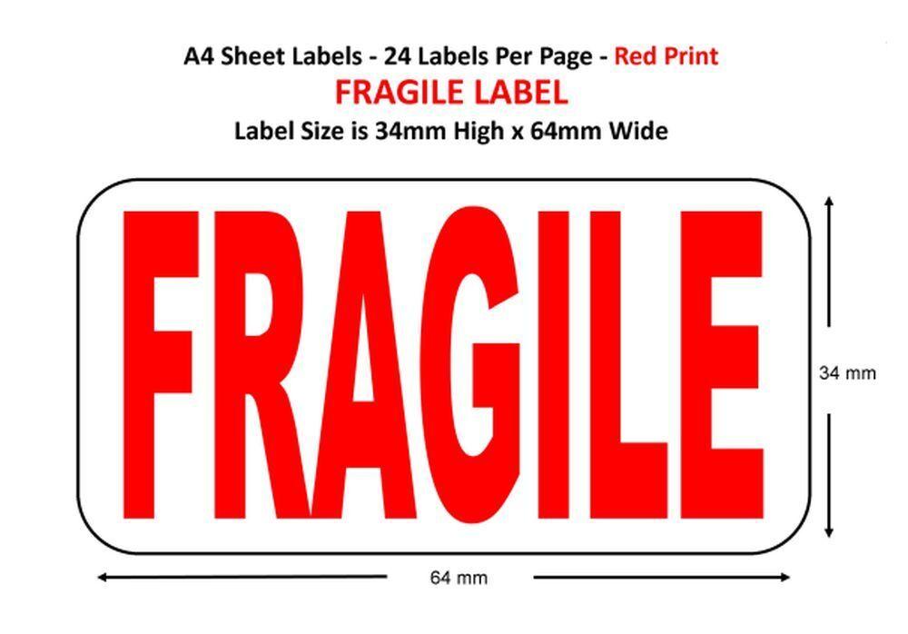 Fragile A4 Sheets Labels Choose Qty