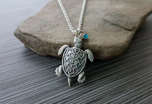 Choose Birthstone Handmade Silver Turtle Birthstone Charm Necklace
