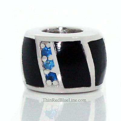 Thin Blue Line Charm Silver European Bead Pendant Onyx wth Blue CZ 925 Sterling