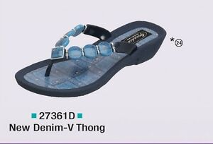 78224252fc470a Image is loading Grandco-Ladies-Denim-Flat-Sandal-Thong-Blue-1-