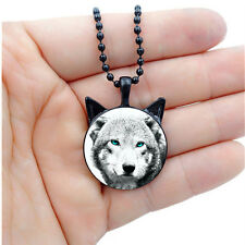New Cabochon Glass Silver/Black Necklace(blue-eye white wolf)with ears pendant