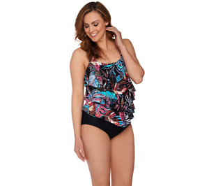 e1e2877891baa St. Tropez Baja Summer Tiered One Piece Swimsuit BLACK Color Size 12 ...
