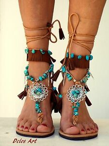 Native American leather Sandals, hippie shoes, Lace Up ...