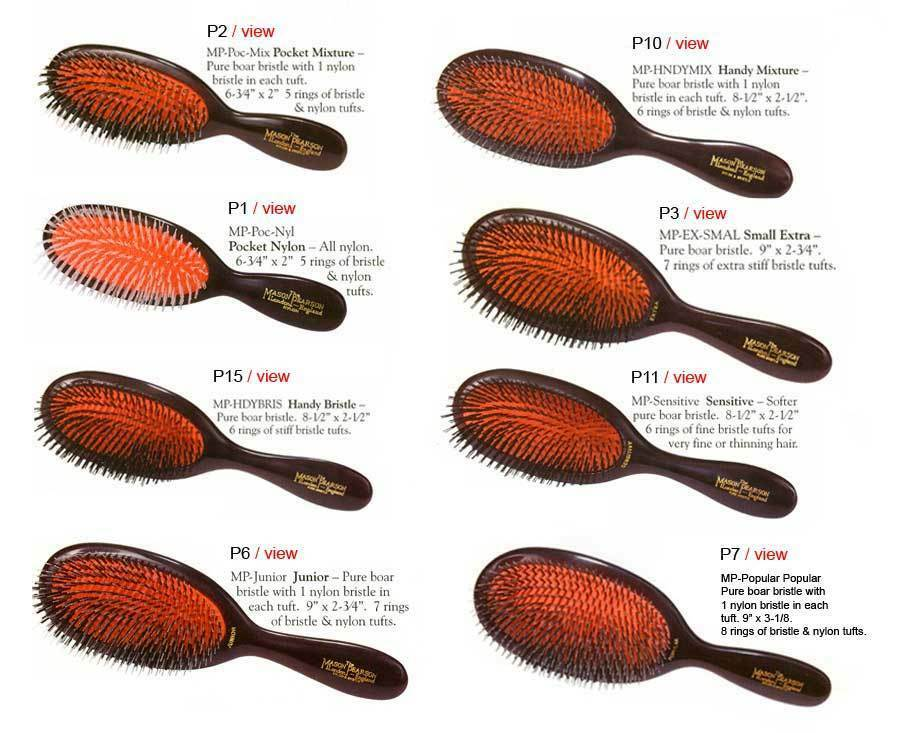 Sidste nye Mason Pearson Hair Brush Handy Nylon N3 Dark Ruby for sale online DP-64