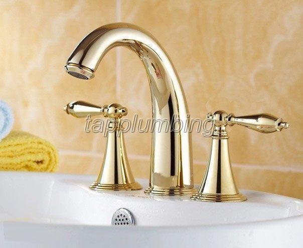 Couleur Or Laiton généralisée 3 Trou Salle de bain bassin robinet évier mélangeur robinets