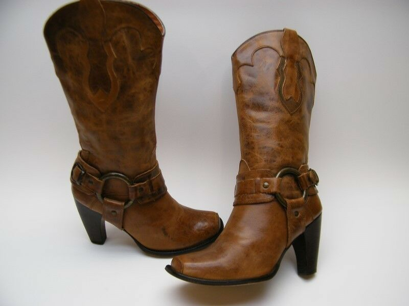 WOMENS JUSTIN BRN LEATHER HARNESS HEEL SQUARE TOE COWBOY WESTERN BOOTS 8.5~1/2 B