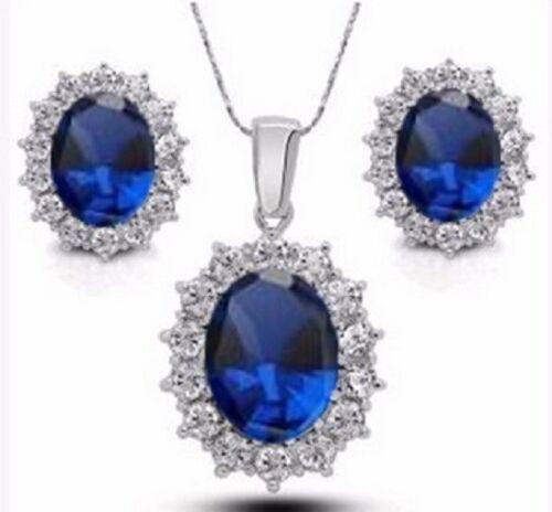 Chapado en Plata Azul y Blanco Zirconia Cúbico Collar Aretes Joyería Set Reino Unido